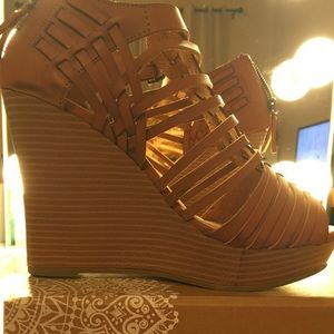 Altar'd State Tan Wedge Shoes